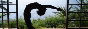 Outdoor yoga pose from Yogamaya